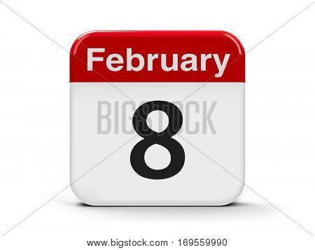 Calendar web button - The Eighth of February three-dimensional rendering 3D illustration