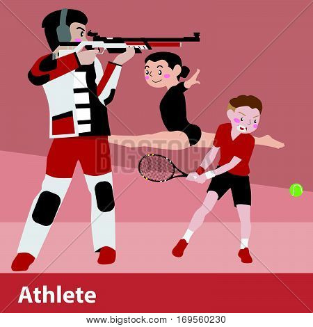 Athletic sport vector cartoon character illustration set