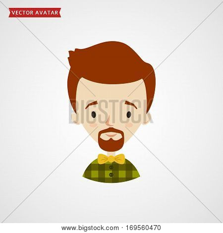 Face of young hipster. Vector avatar with fashionable man in a plaid shirt. Сute icon isolated on white background.