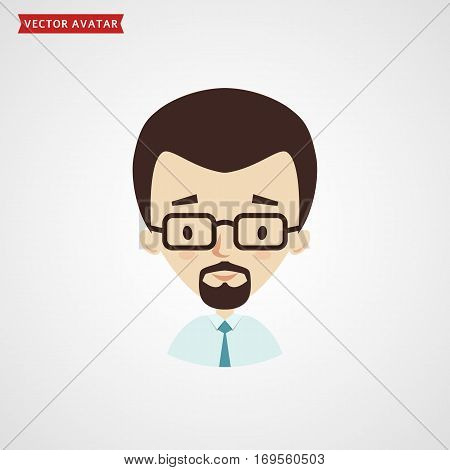 Man's face with glasses. Vector avatar for businessman or office worker. Сute icon isolated on white background.