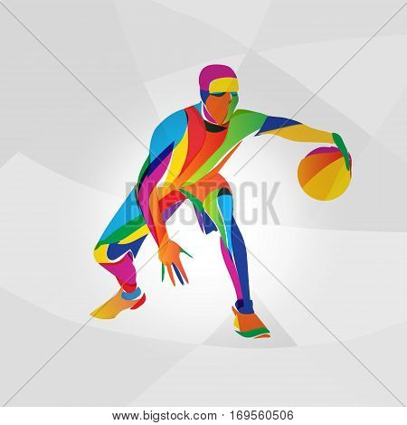 Abstract multicolor illustration of basketball player, vector eps