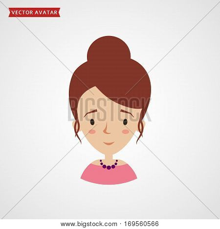 Face of a young woman with elegant hairstyle. Vector avatar. Сute flat icon isolated on white background.