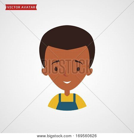 Face of black man. Сute avatar. Vector icon isolated on white background.