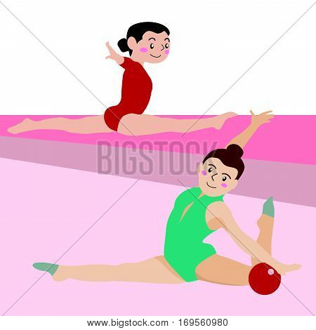 Gymnastic athletic sport vector cartoon illustration set