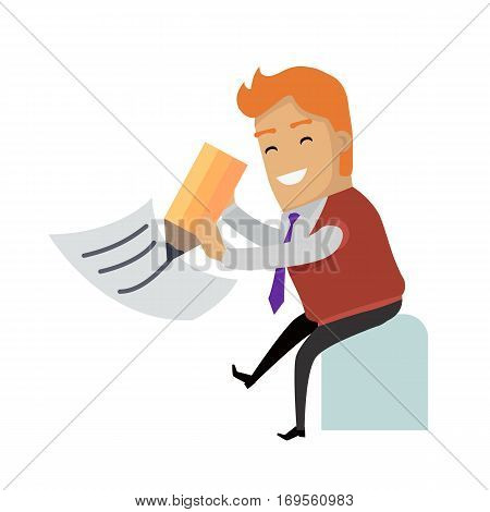 Writing letter. Smiling man writing big pencil on sheet of paper vector illustration isolated on white background. Filling tax return.For mail app icon, professions infographic, communication concept