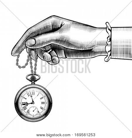 Woman's hand with a retro pocket watch. Vintage stylized drawing. Vector Illustration