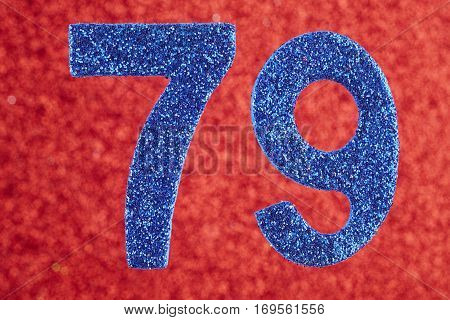 Number seventy-nine blue color over a red background. Anniversary. Birthday