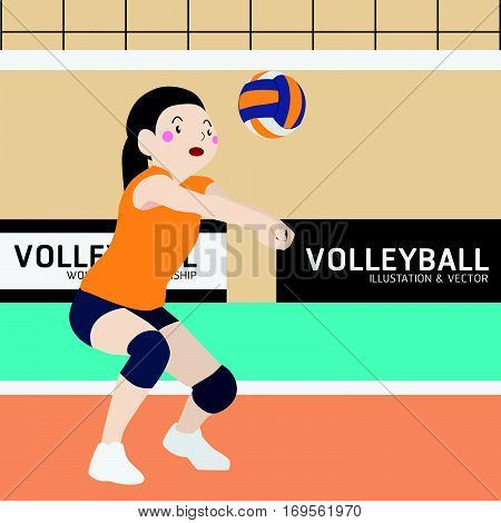 Volleyball athletic sport vector cartoon illustration set