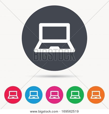 Computer icon. Notebook or laptop pc symbol. Colored circle buttons with flat web icon. Vector