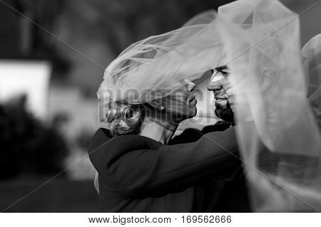 Bride Rises Her Head Up To The Groom's Face While Wind Blows A Veil Over Them