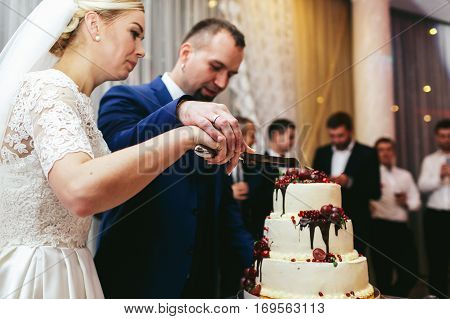 Bride And Groom Hold Their Hands Together On A Knife While They Cut A Wedding Cake