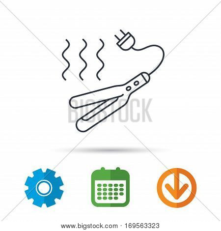 Curling iron icon. Hairstyle electric tool sign. Calendar, cogwheel and download arrow signs. Colored flat web icons. Vector