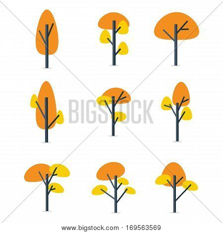 Tree style various set vector flat collection stock