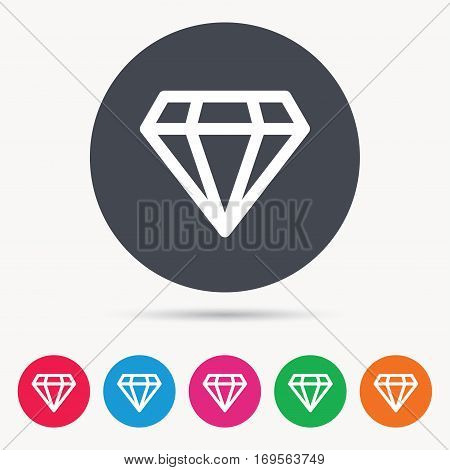 Diamond icon. Jewelry gem symbol. Brilliant jewel sign. Colored circle buttons with flat web icon. Vector