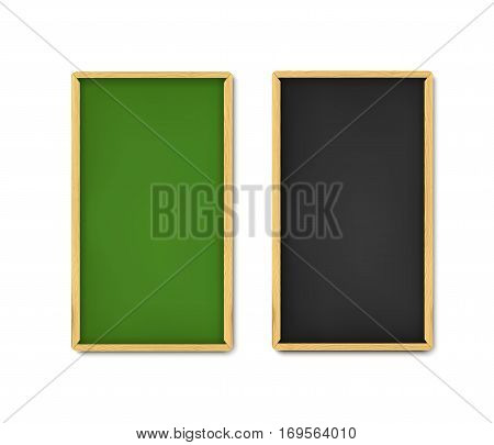 School board banner set. Realistic vector illustration of green and black boards with chalk and wooden borders. Vertical web banners with shadow isolated on white background.