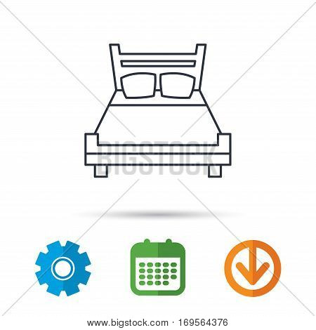 Double bed icon. Sleep symbol. Calendar, cogwheel and download arrow signs. Colored flat web icons. Vector
