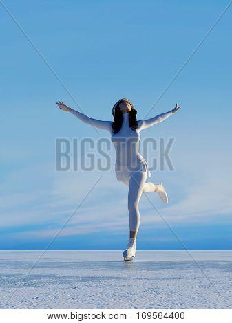 The girl skates. ,3d render
