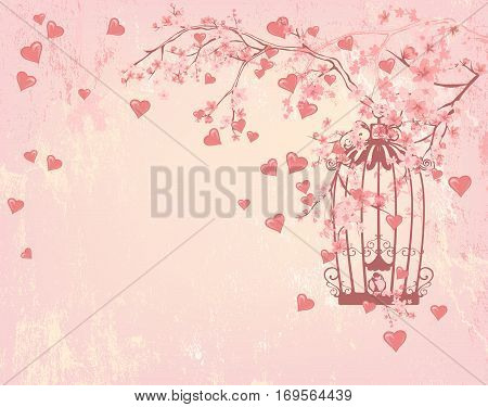 vintage bird cage among hearts pink flowers and tree branches - valentines day shabby background with place for your text