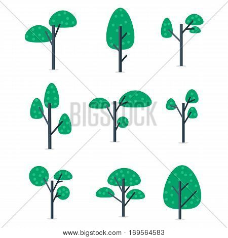 Illustration of tree set style collection stock