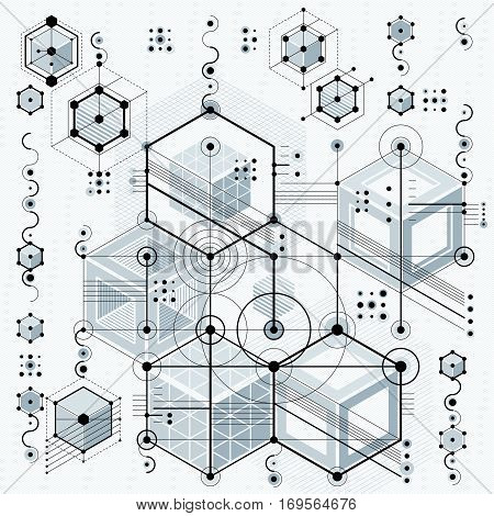 Mechanical scheme vector engineering drawing with geometric parts of mechanism. Futuristic industrial project can be used in web design