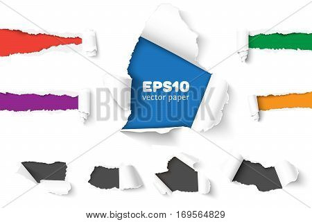 Set of holes in white paper with torn sides over different color paper background with space for text. Realistic vector torn paper with ripped edges.