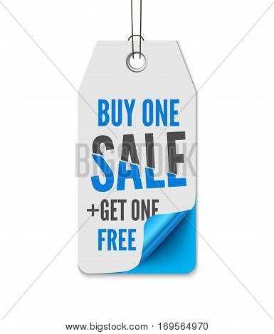 Price labels sale. Realistic vector illustration of paper isolated on white background tag with curl corner and inscription Buy one - Get on free