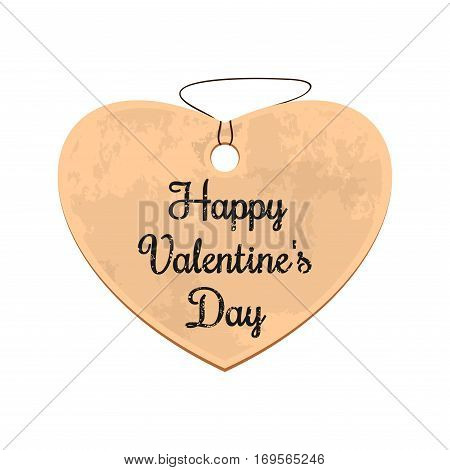 Cardboard heart with greeting inscription - Happy Valentine's Day. Vector illustration isolated on white background