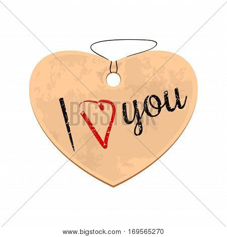 Cardboard heart with old worn inscription. I love you. Vintage romantic design. Vector illustration isolated on white background