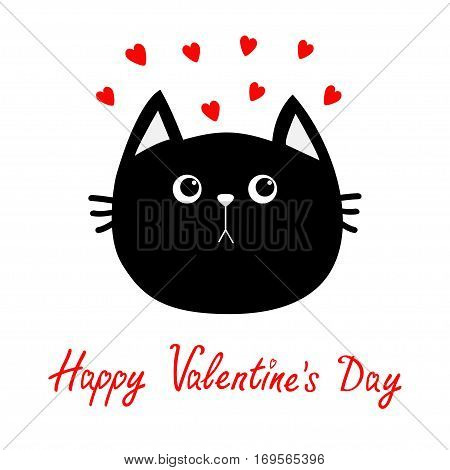 Black cat head icon. Red heart set. Cute funny cartoon character. Happy Valentines day Greeting card. Sad emotion. Kitty Whisker Baby pet collection. White background. Isolated. Flat design. Vector