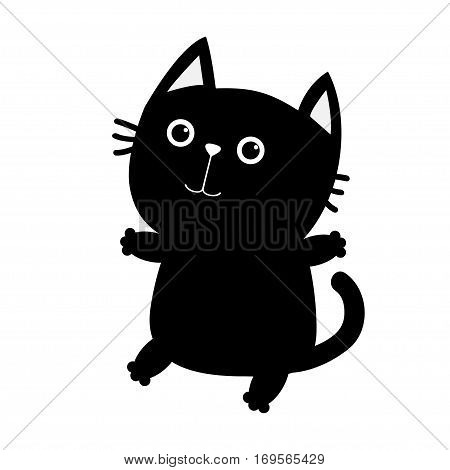 Black cat sitting icon. Cute funny cartoon smiling character. Kawaii animal. Big tail whisker eyes. Happy emotion. Kitty kitten Baby pet collection. White background. Isolated. Flat design. Vector
