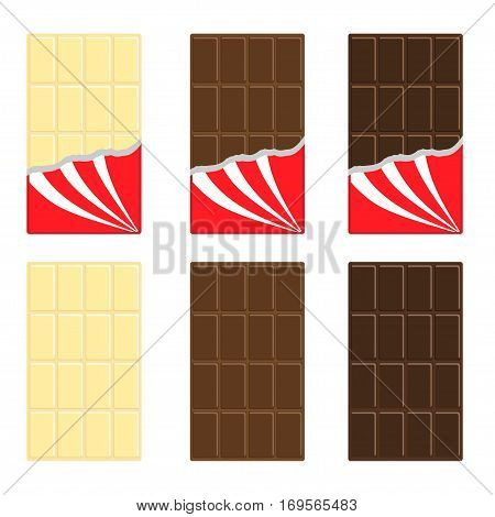 White milk dark chocolate bar icon set. Opened red wrapping paper foil . Tasty sweet dessert food. Rectangle shape Vertical piece. Modern simple style. Flat design background. Isolated. Vector
