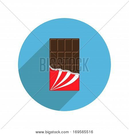 Round chocolate bar icon shadow. Opened red wrapping paper foil. Tasty sweet food. Dark dessert. Rectangle shape Vertical piece. Modern simple style. Flat design. White background. Isolated. Vector