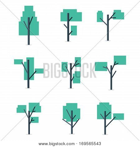 Vector art of tree set for game collection stock