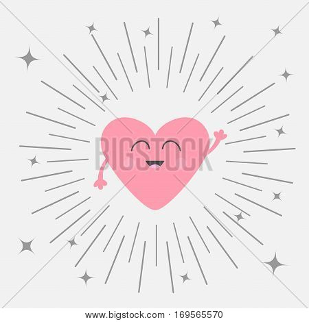 Pink heart face head with hands. Cute cartoon kawaii smiling character. Round line shining star circle. Valentines day sign symbol. Greeting card. Isolated. Flat White background. Vector illustration
