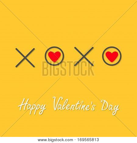 Xoxo Hugs and kisses Sign symbol mark Love Red heart Word text lettering. Happy Valentines day. Greeting card. Flat design Yellow background Isolated. Vector illustration