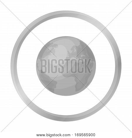 Earth icon in outline design isolated on white background. Bio and ecology symbol stock vector illustration.