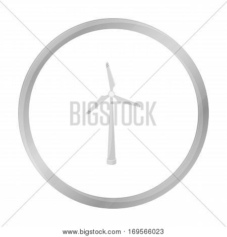 Wind energy turbine icon in outline design isolated on white background. Bio and ecology symbol stock vector illustration.
