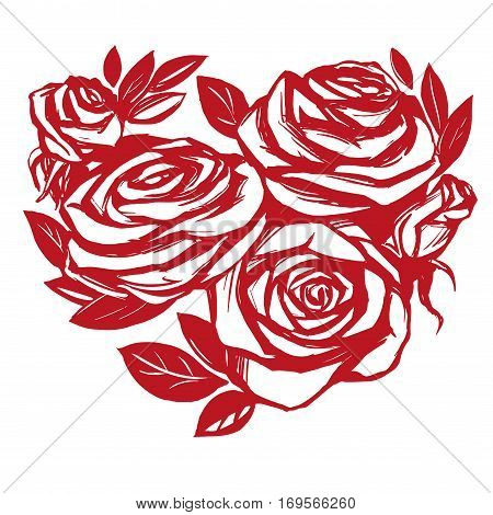 Heart of roses sketch cartoon vector illustration holiday card Valentine s Day