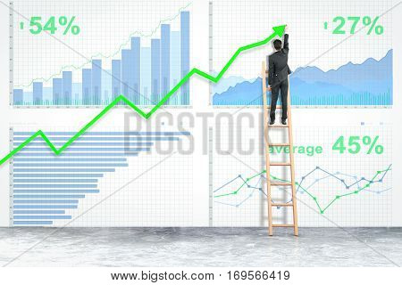 Back view of businessman on ladder drawing upward green arrow on business chart background. Finance concept. 3D Rendering
