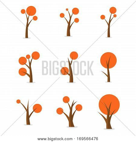 Illustration of tree style for game collection stock