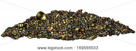 Illustration pile of treasure with gold jewelry gems coins artefacts
