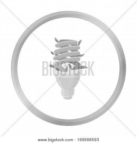 Ecological fluorescent lamp icon in outline design isolated on white background. Bio and ecology symbol stock vector illustration.