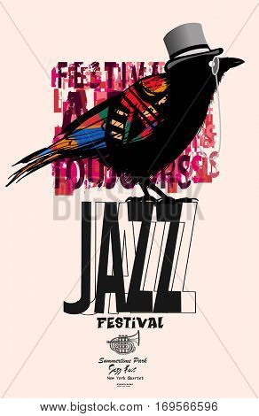 Black raven jazz poster - vector illustration