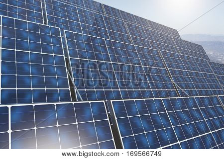 Side view of blue solar panels on sky background. Environment concept. 3D Rendering