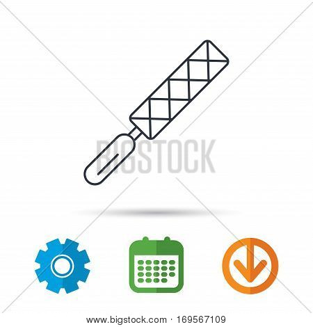 File tool icon. Carpenter equipment sign. Calendar, cogwheel and download arrow signs. Colored flat web icons. Vector