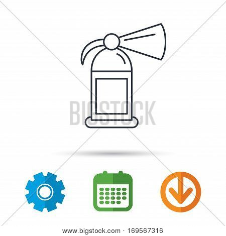 Fire extinguisher icon. Flame protection sign. Calendar, cogwheel and download arrow signs. Colored flat web icons. Vector