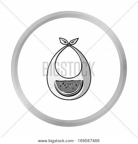 Baby bib icon in monochrome style isolated on white background. Baby born symbol vector illustration.