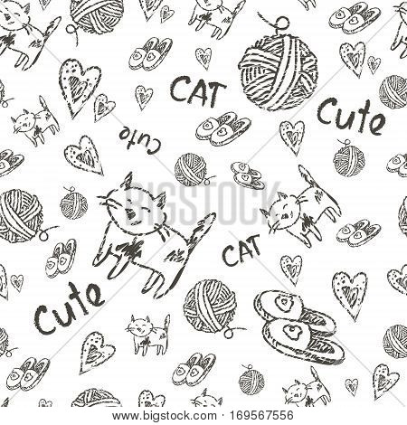 hand drawn cats seamless vector pattern. Doodle art.