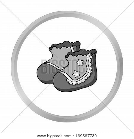 Baby socks icon in monochrome style isolated on white background. Baby born symbol vector illustration.