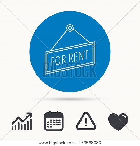 For rent icon. Advertising banner tag sign. Calendar, attention sign and growth chart. Button with web icon. Vector
